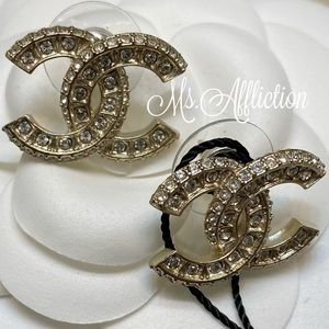 CHANEL NEW! Classic CC Gold Crystal Earrings 2020